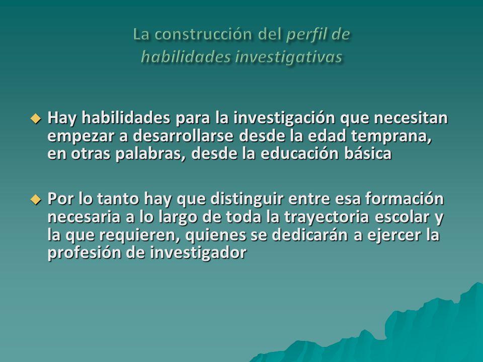 La construcción del perfil de habilidades investigativas