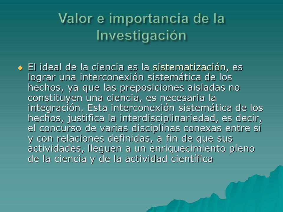 Valor e importancia de la Investigación