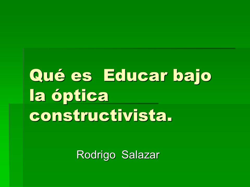 Qué es Educar bajo la óptica constructivista.