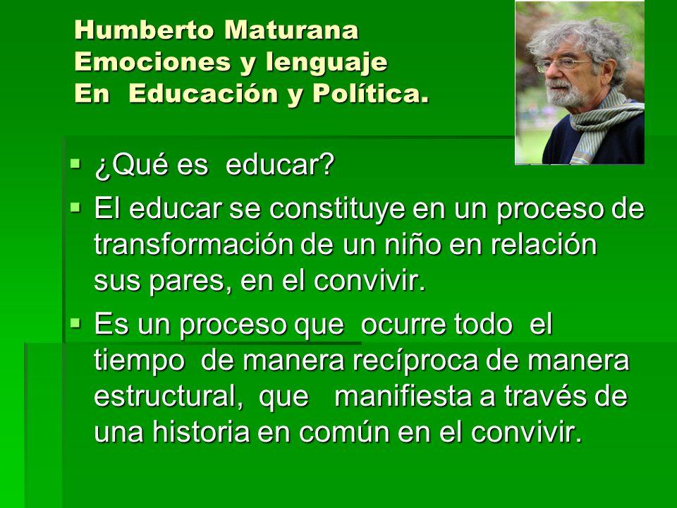 Humberto Maturana Emociones y lenguaje En Educación y Política.