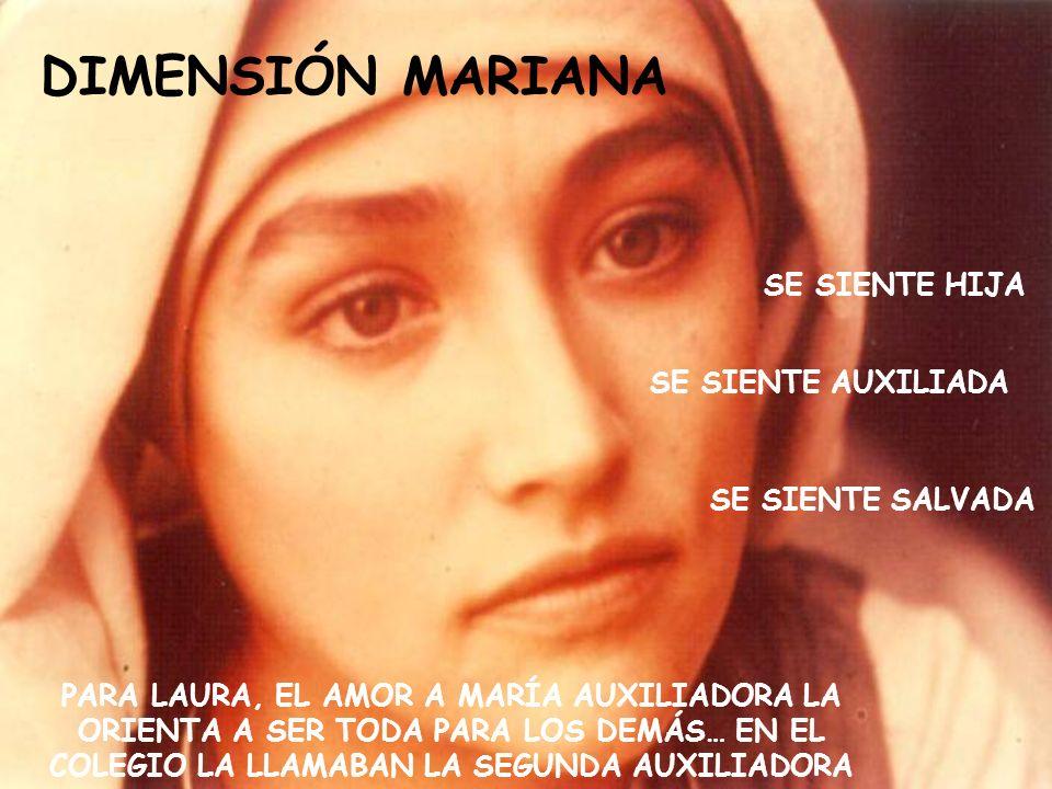 DIMENSIÓN MARIANA SE SIENTE HIJA SE SIENTE AUXILIADA SE SIENTE SALVADA