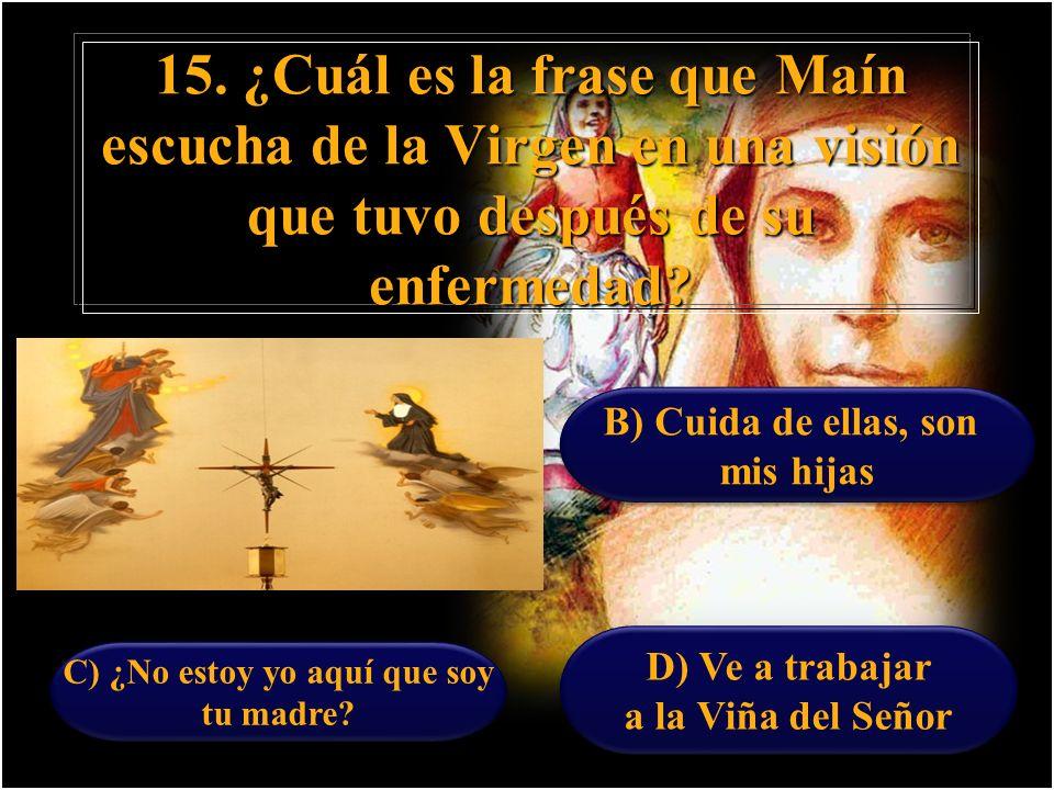 15. ¿Cuál es la frase que Maín escucha de la Virgen en una visión que tuvo después de su enfermedad