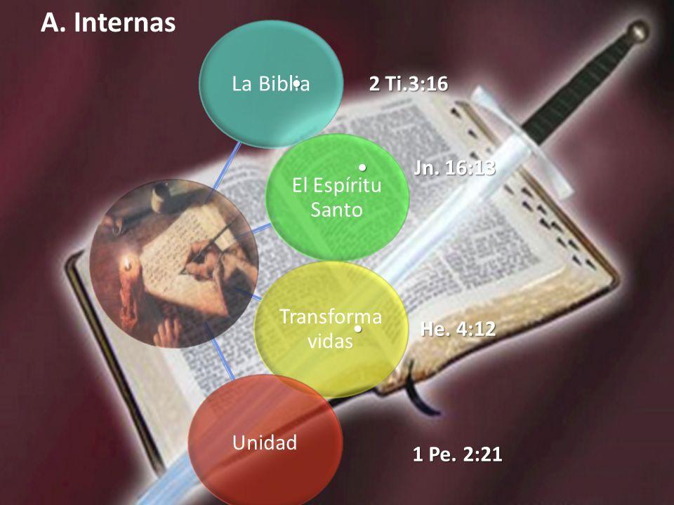A. Internas 2 Ti.3:16 Jn. 16:13 He. 4:12 1 Pe. 2:21 La Biblia