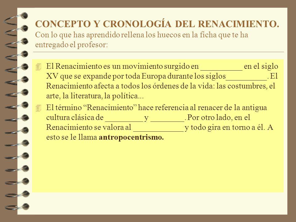 CONCEPTO Y CRONOLOGÍA DEL RENACIMIENTO