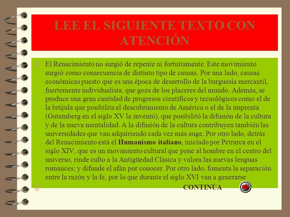 LEE EL SIGUIENTE TEXTO CON ATENCIÓN