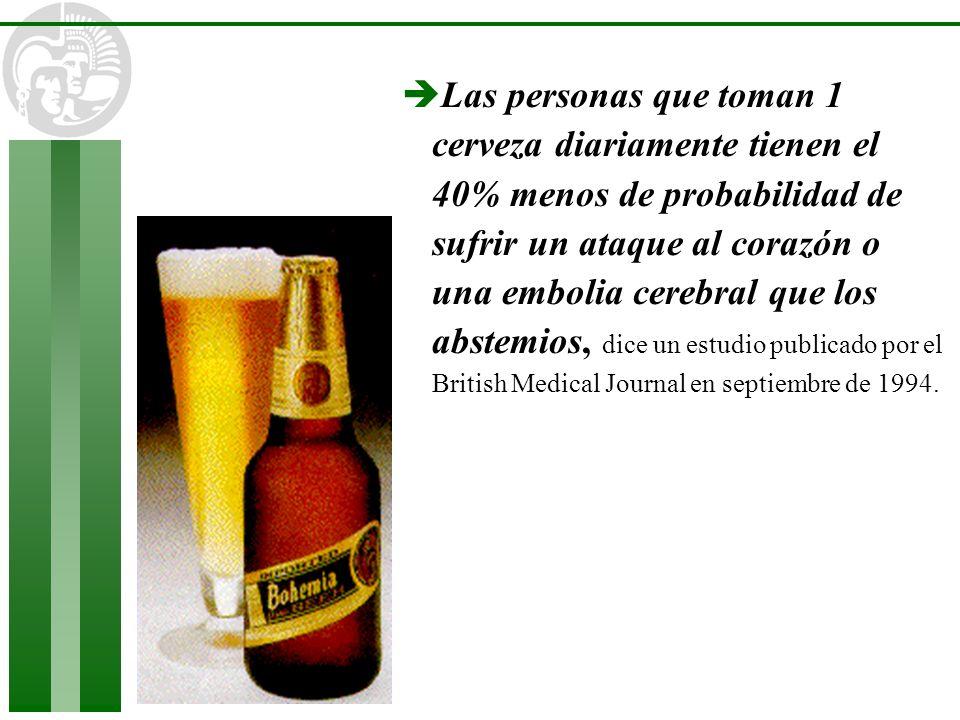 Las personas que toman 1 cerveza diariamente tienen el 40% menos de probabilidad de sufrir un ataque al corazón o una embolia cerebral que los abstemios, dice un estudio publicado por el British Medical Journal en septiembre de 1994.