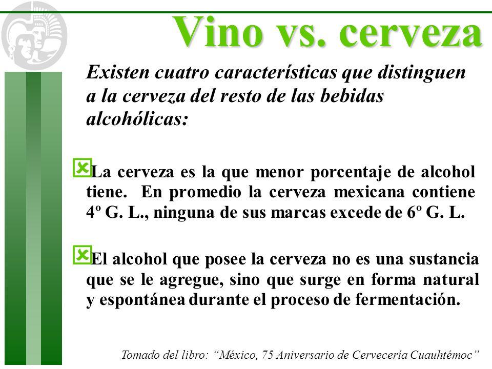 Vino vs. cervezaExisten cuatro características que distinguen a la cerveza del resto de las bebidas alcohólicas: