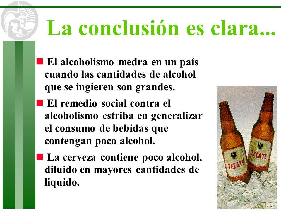 La conclusión es clara... El alcoholismo medra en un país cuando las cantidades de alcohol que se ingieren son grandes.