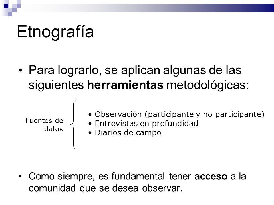 Etnografía Para lograrlo, se aplican algunas de las siguientes herramientas metodológicas: