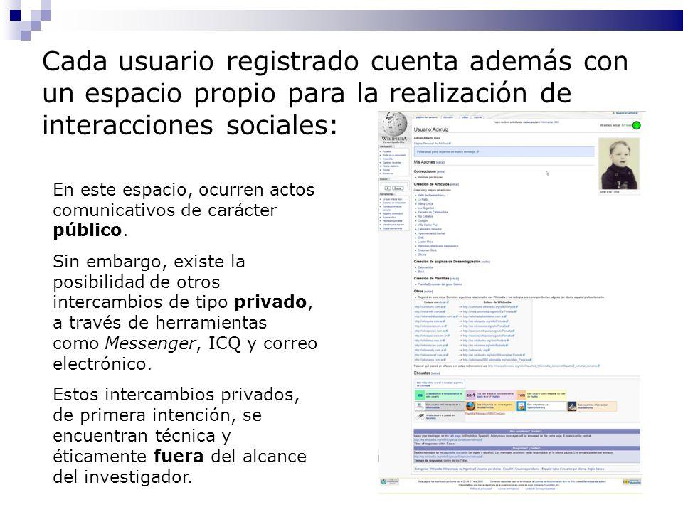 Cada usuario registrado cuenta además con un espacio propio para la realización de interacciones sociales: