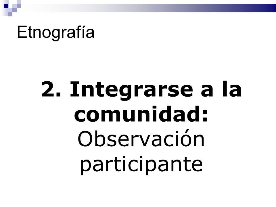 2. Integrarse a la comunidad: Observación participante