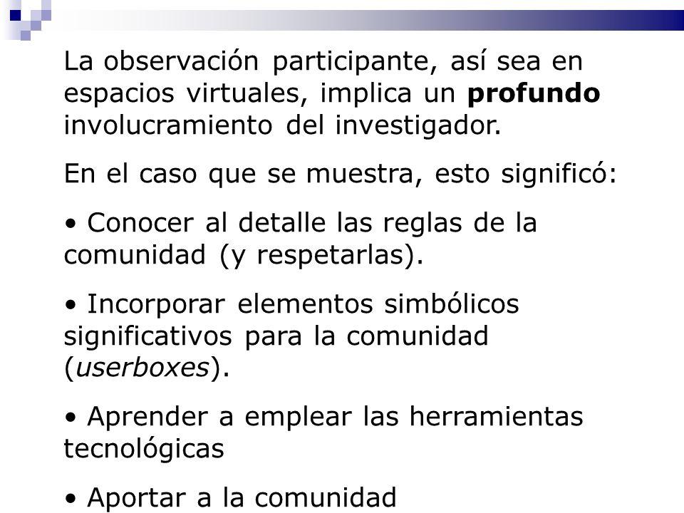 La observación participante, así sea en espacios virtuales, implica un profundo involucramiento del investigador.