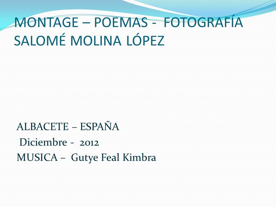 MONTAGE – POEMAS - FOTOGRAFÍA SALOMÉ MOLINA LÓPEZ