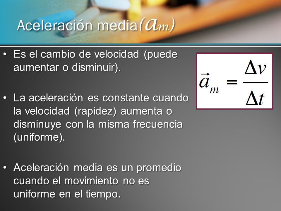 Aceleración media(am)