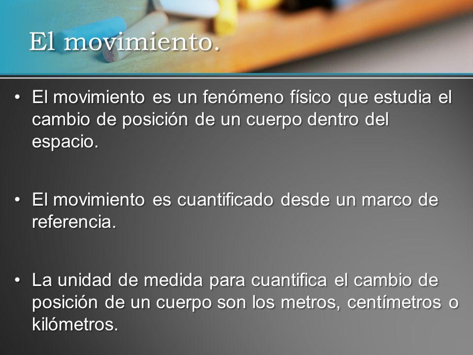 El movimiento. El movimiento es un fenómeno físico que estudia el cambio de posición de un cuerpo dentro del espacio.