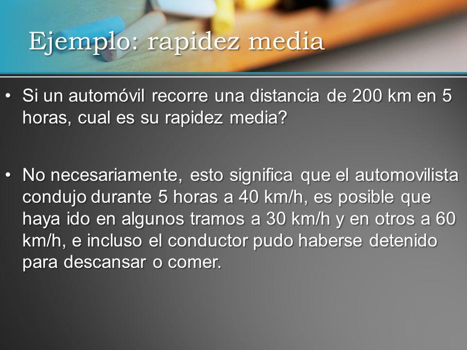 Ejemplo: rapidez media