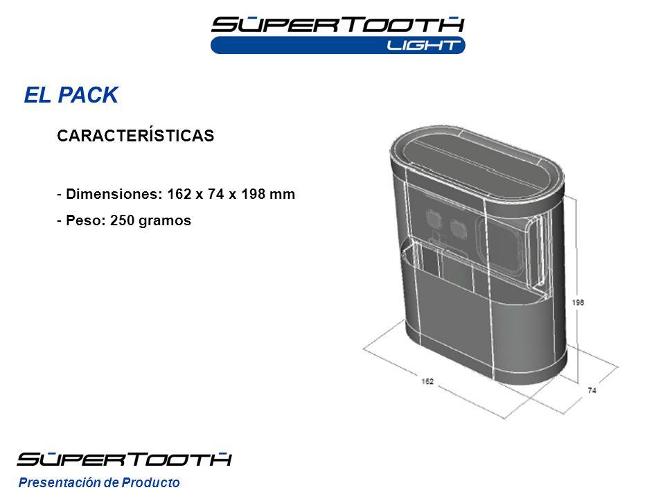 EL PACK CARACTERÍSTICAS Dimensiones: 162 x 74 x 198 mm
