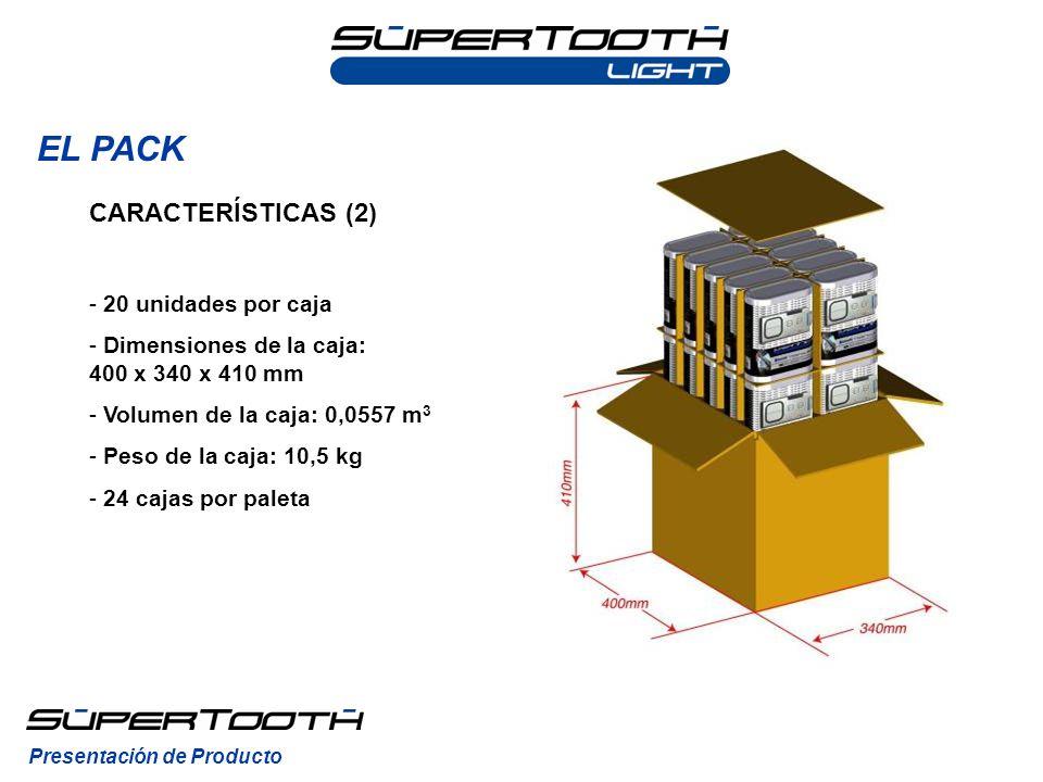 EL PACK CARACTERÍSTICAS (2) 20 unidades por caja