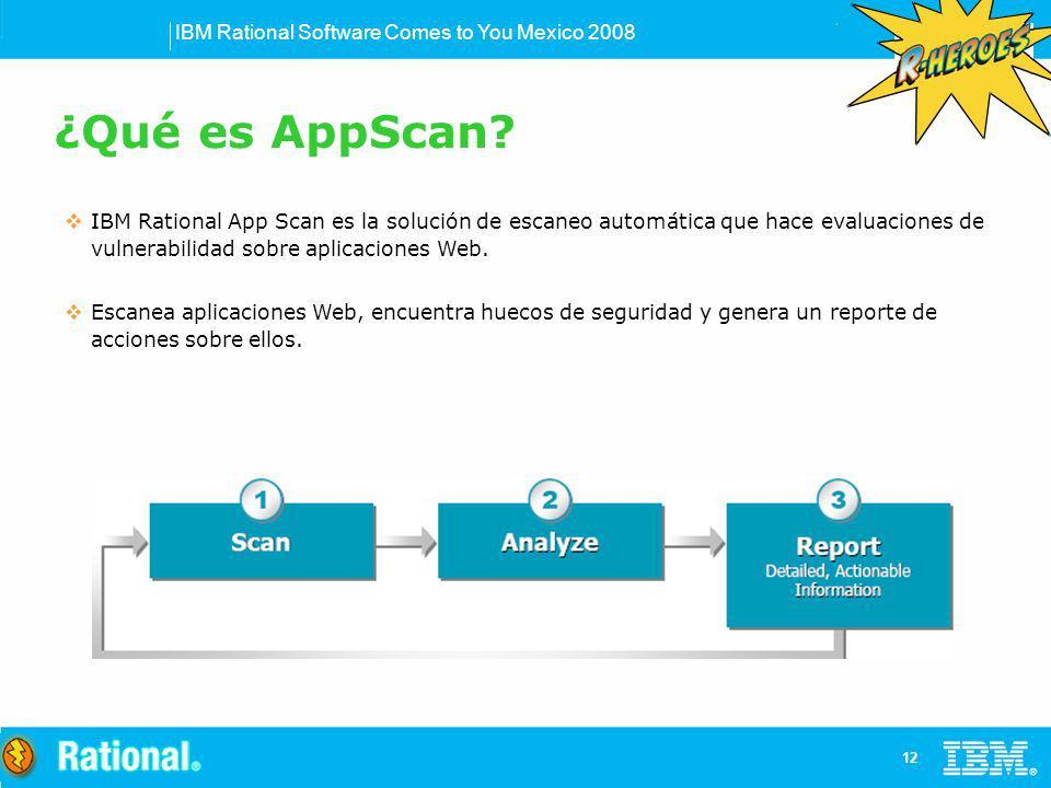 ¿Qué es AppScan IBM Rational App Scan es la solución de escaneo automática que hace evaluaciones de vulnerabilidad sobre aplicaciones Web.