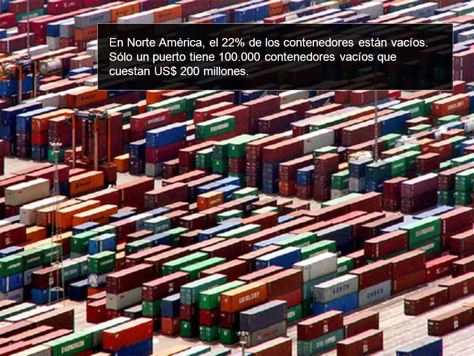 En Norte América, el 22% de los contenedores están vacíos