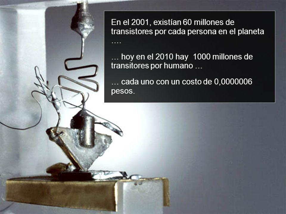 … hoy en el 2010 hay 1000 millones de transitores por humano …