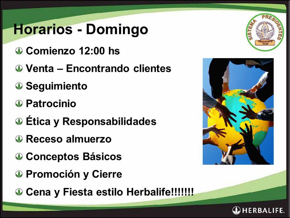 Horarios - Domingo Comienzo 12:00 hs Venta – Encontrando clientes