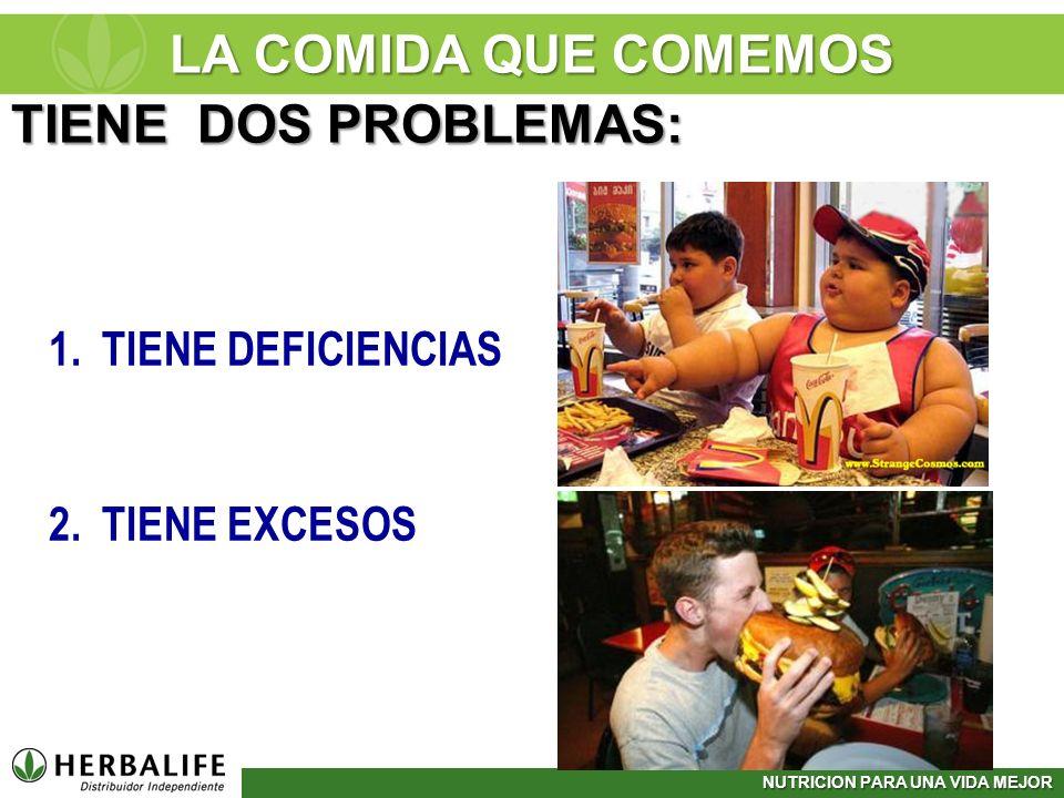 LA COMIDA QUE COMEMOS TIENE DOS PROBLEMAS: TIENE DEFICIENCIAS