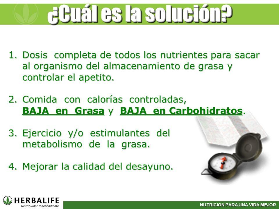 ¿Cuál es la solución Dosis completa de todos los nutrientes para sacar al organismo del almacenamiento de grasa y controlar el apetito.