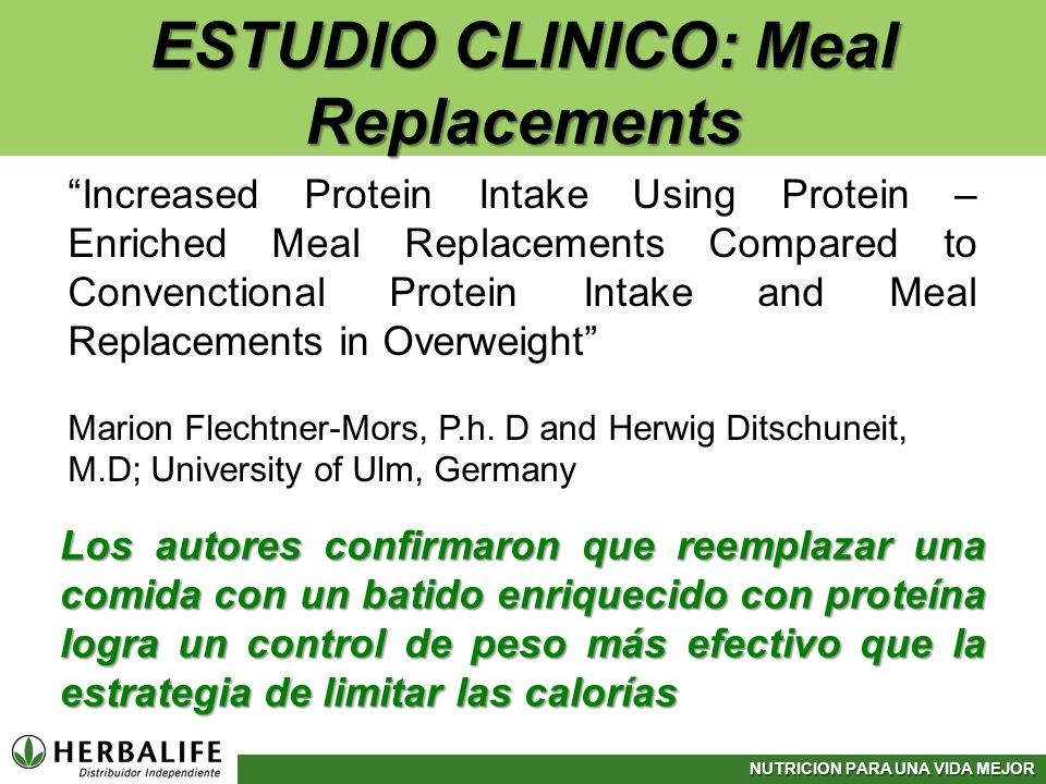 ESTUDIO CLINICO: Meal Replacements