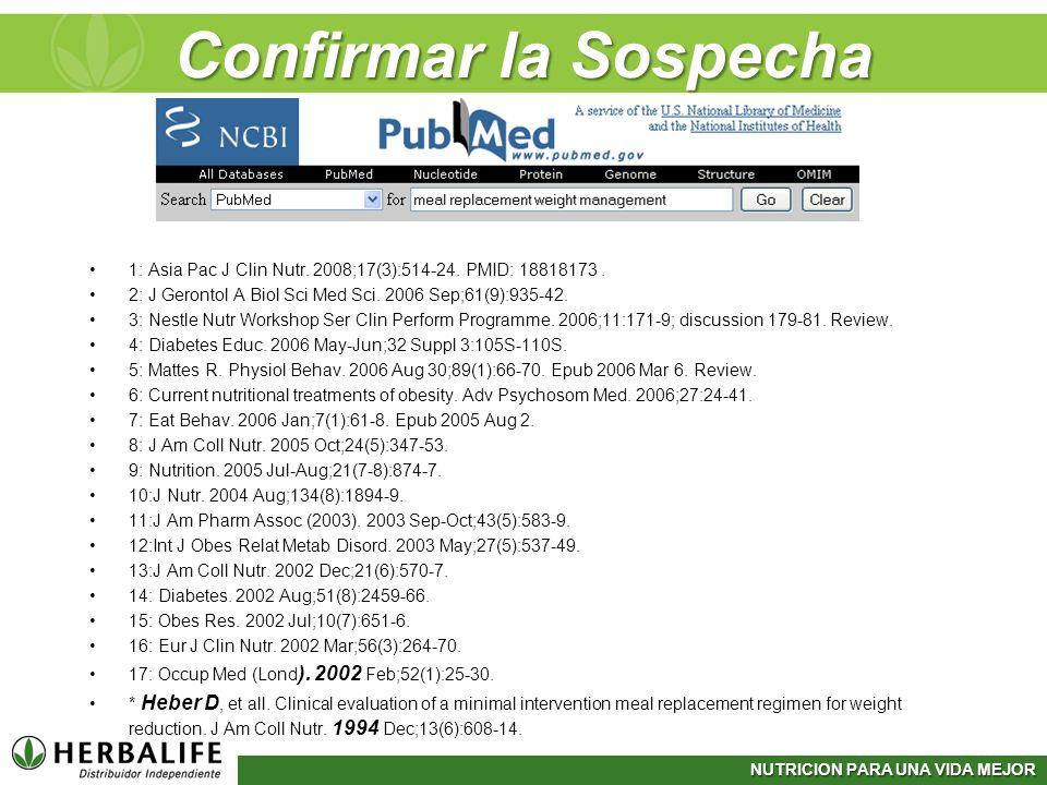 Confirmar la Sospecha1: Asia Pac J Clin Nutr. 2008;17(3):514-24. PMID: 18818173 . 2: J Gerontol A Biol Sci Med Sci. 2006 Sep;61(9):935-42.