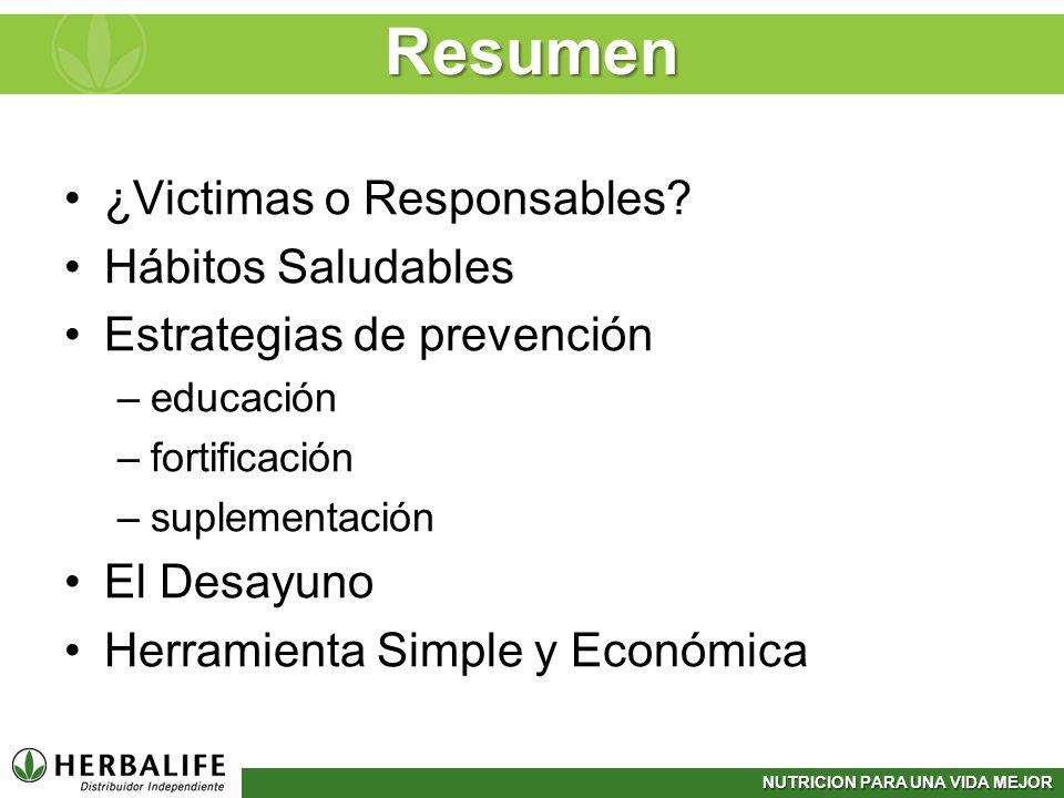 Resumen ¿Victimas o Responsables Hábitos Saludables