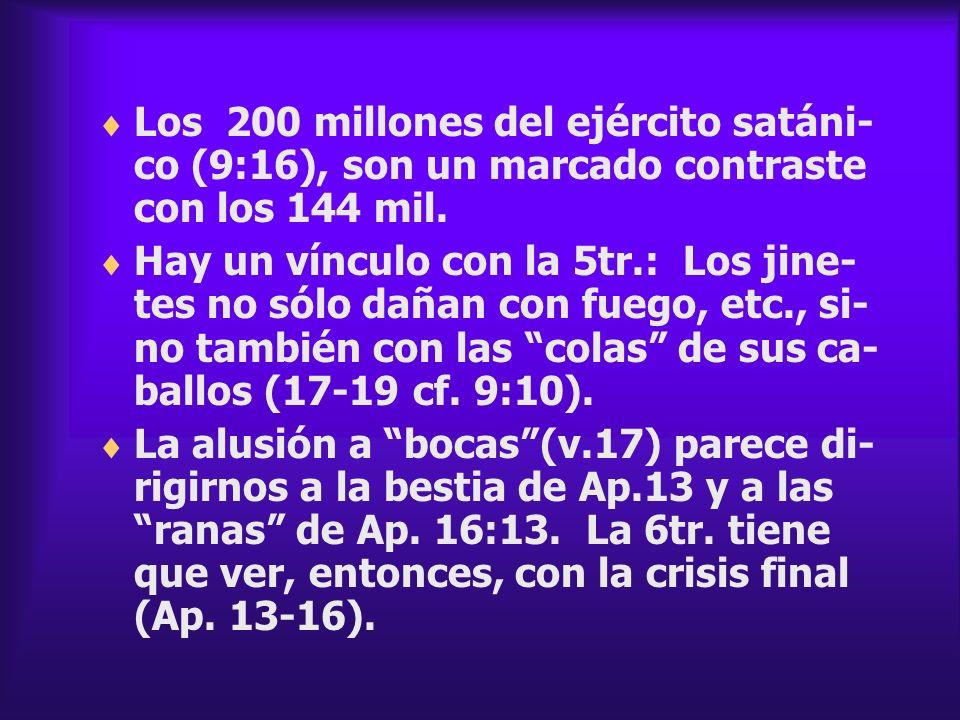 Los 200 millones del ejército satáni-co (9:16), son un marcado contraste con los 144 mil.