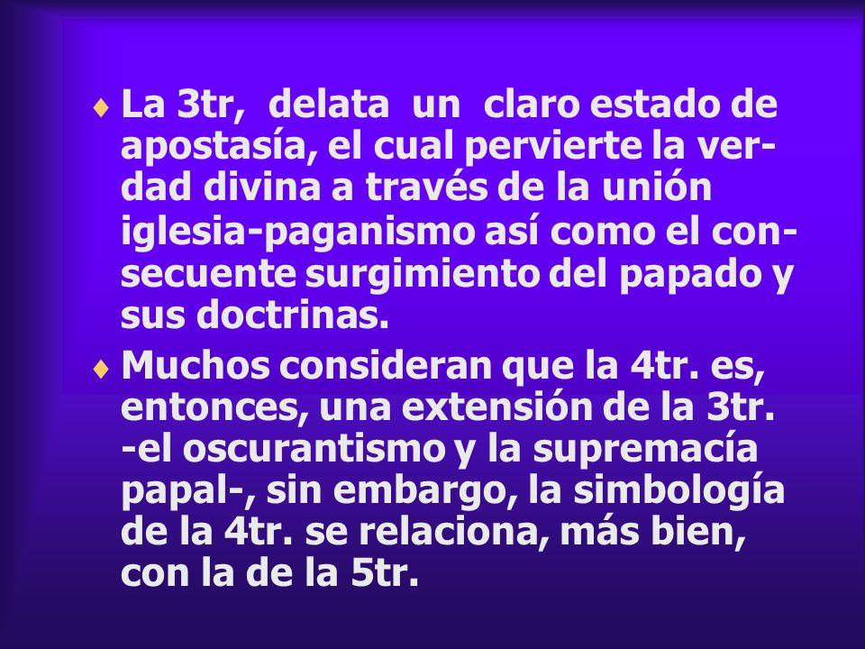 La 3tr, delata un claro estado de apostasía, el cual pervierte la ver-dad divina a través de la unión iglesia-paganismo así como el con-secuente surgimiento del papado y sus doctrinas.