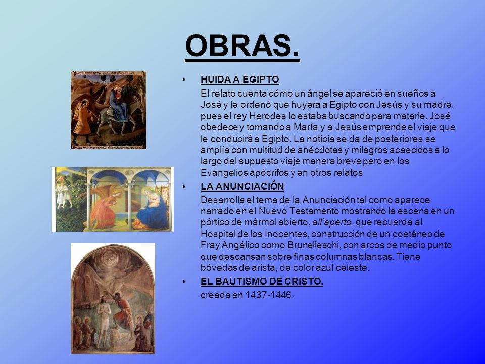OBRAS. HUIDA A EGIPTO.