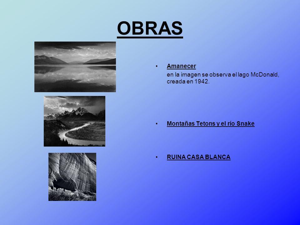 OBRAS Amanecer. en la imagen se observa el lago McDonald, creada en 1942. Montañas Tetons y el río Snake.