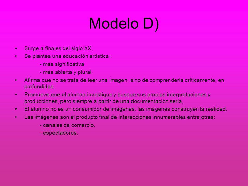 Modelo D) Surge a finales del siglo XX.