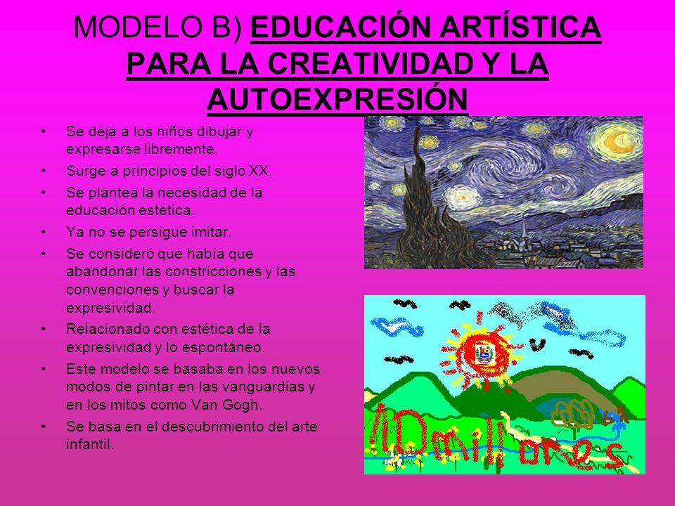 MODELO B) EDUCACIÓN ARTÍSTICA PARA LA CREATIVIDAD Y LA AUTOEXPRESIÓN