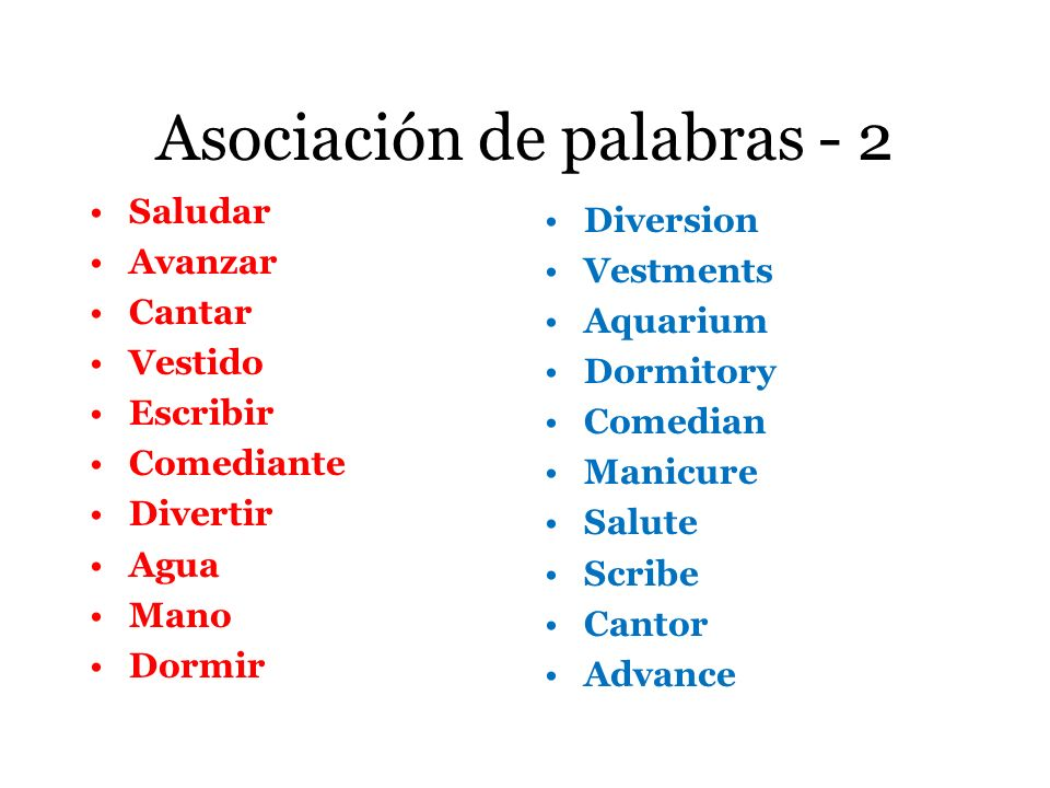 Asociación de palabras - 2