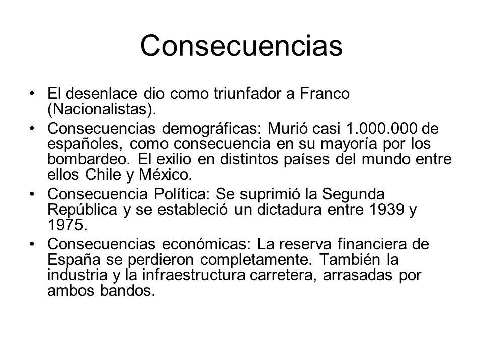 ConsecuenciasEl desenlace dio como triunfador a Franco (Nacionalistas).