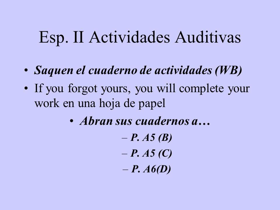 Esp. II Actividades Auditivas