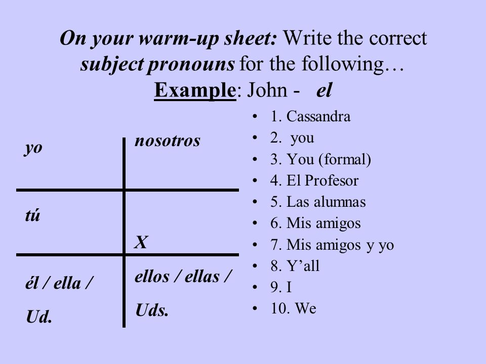 On your warm-up sheet: Write the correct subject pronouns for the following… Example: John - el