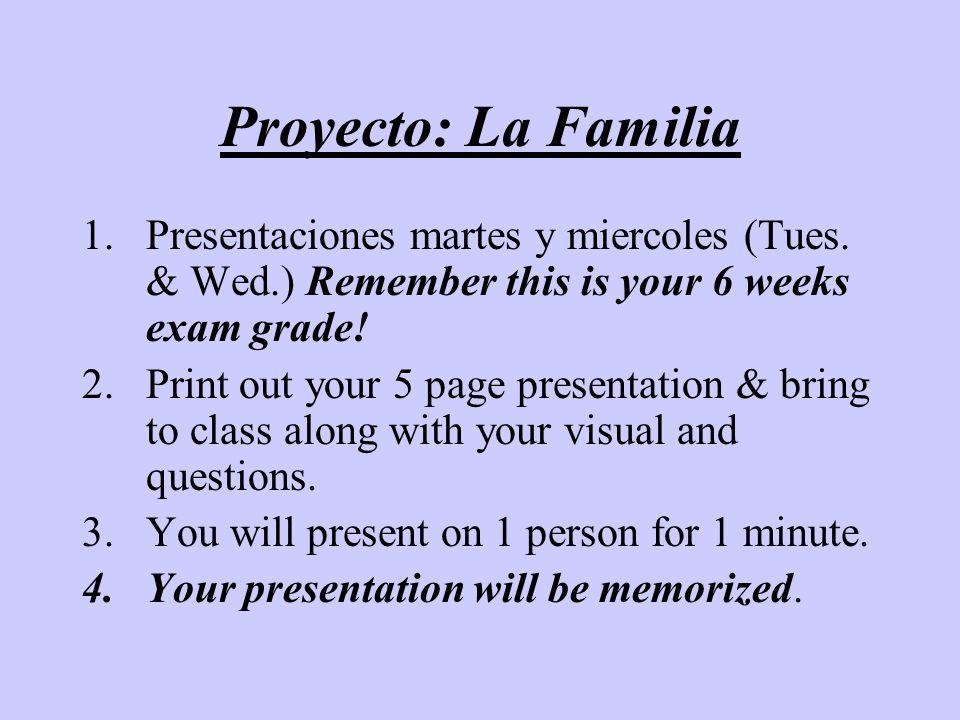Proyecto: La FamiliaPresentaciones martes y miercoles (Tues. & Wed.) Remember this is your 6 weeks exam grade!