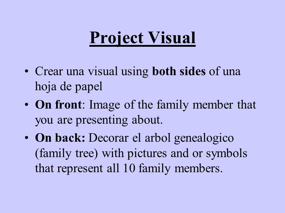 Project Visual Crear una visual using both sides of una hoja de papel