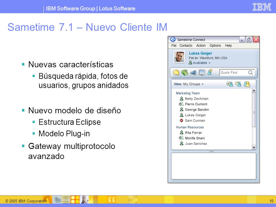 Sametime 7.1 – Nuevo Cliente IM