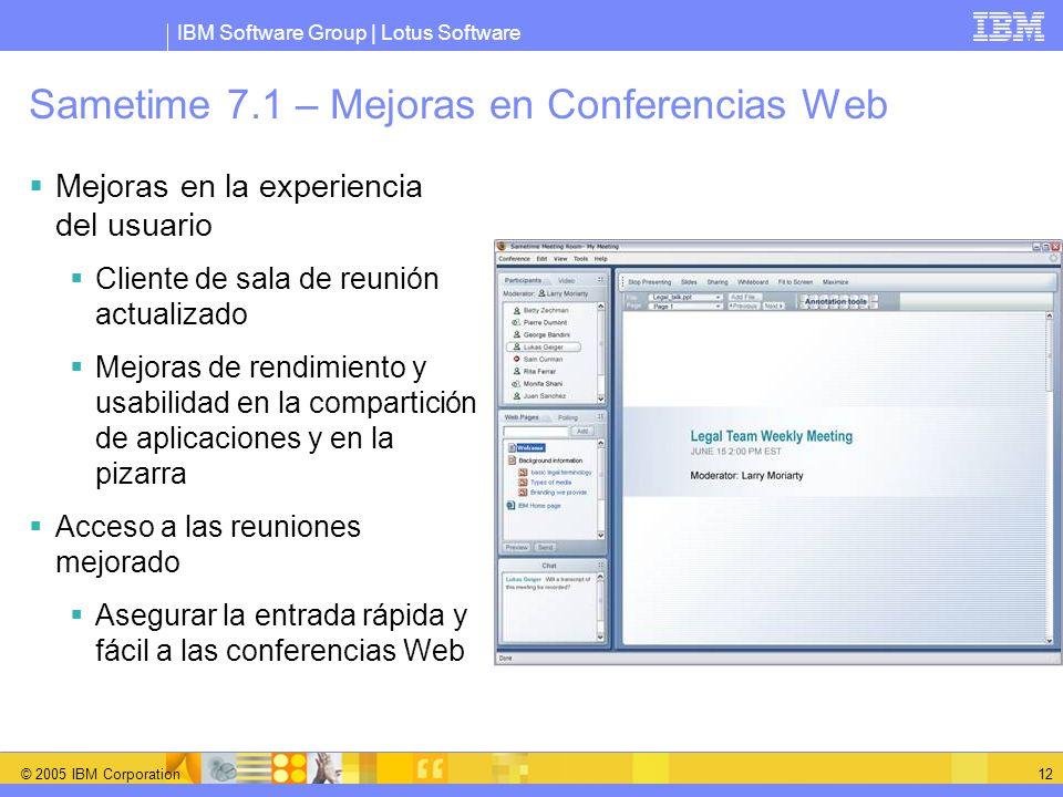 Sametime 7.1 – Mejoras en Conferencias Web