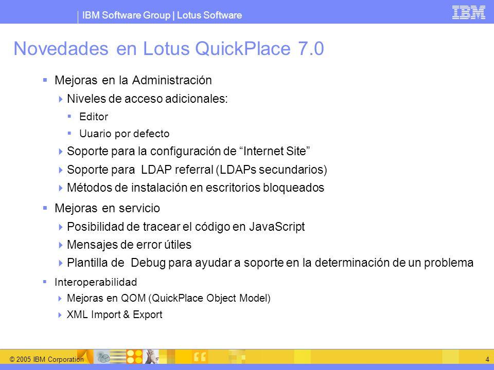 Novedades en Lotus QuickPlace 7.0