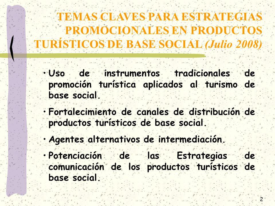 TEMAS CLAVES PARA ESTRATEGIAS PROMOCIONALES EN PRODUCTOS TURÍSTICOS DE BASE SOCIAL (Julio 2008)