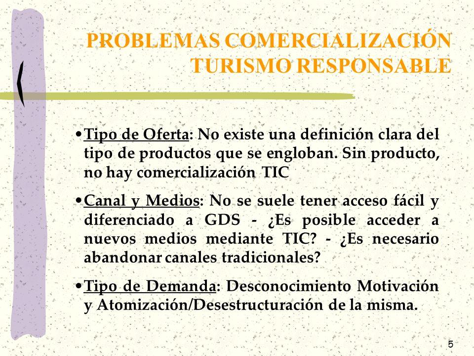 PROBLEMAS COMERCIALIZACIÓN TURISMO RESPONSABLE