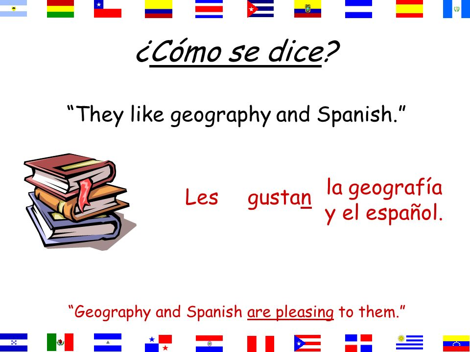 ¿Cómo se dice They like geography and Spanish.
