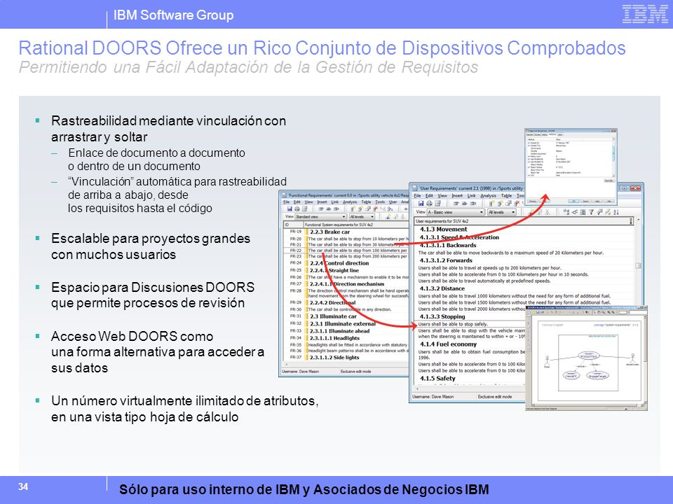 Rational DOORS Ofrece un Rico Conjunto de Dispositivos Comprobados Permitiendo una Fácil Adaptación de la Gestión de Requisitos